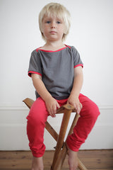 Red organic cotton modal fabric kid's leggings, organic kids clothing