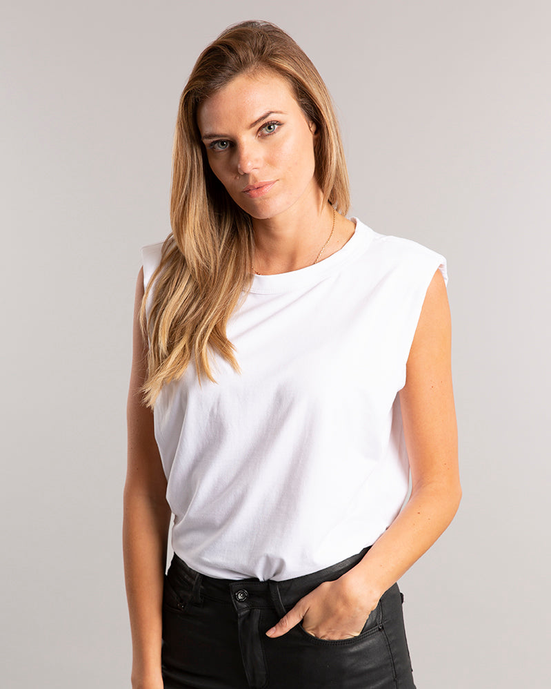 Classic White Muscle Padded T-shirt