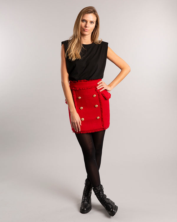 Red Tweed Skirt