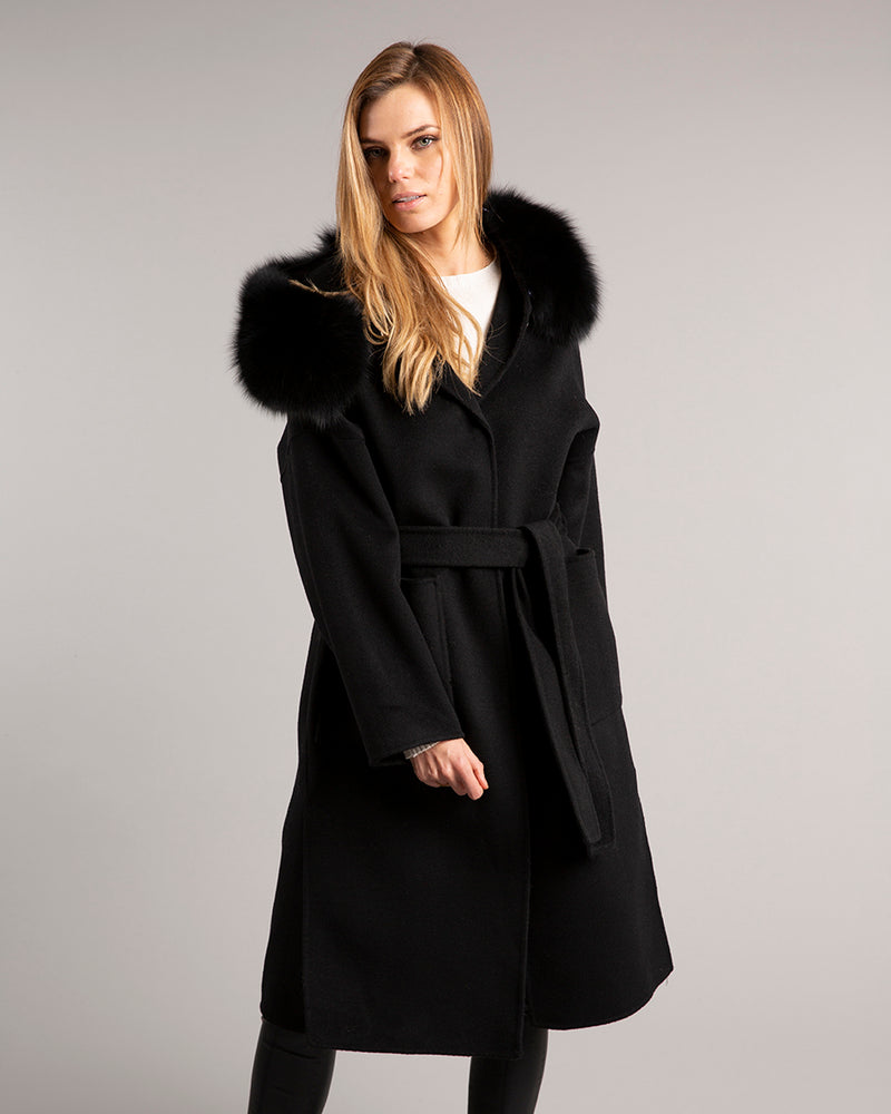 Kate Wrap Wool Long Black
