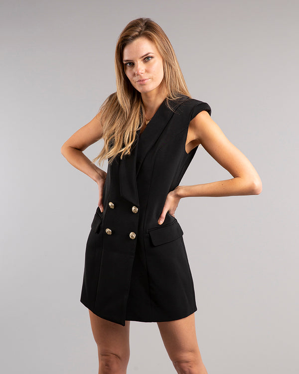 Kensington Padded Shoulder Blazer Dress Black