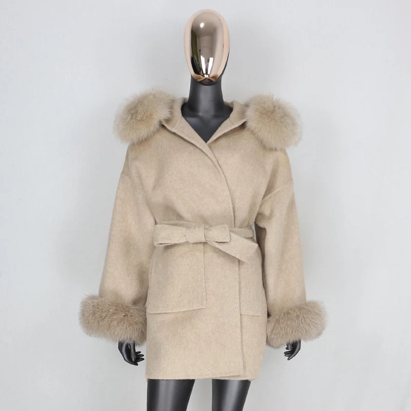 Merible Cashmere Wrap Belt Coat Fox Fur Hood