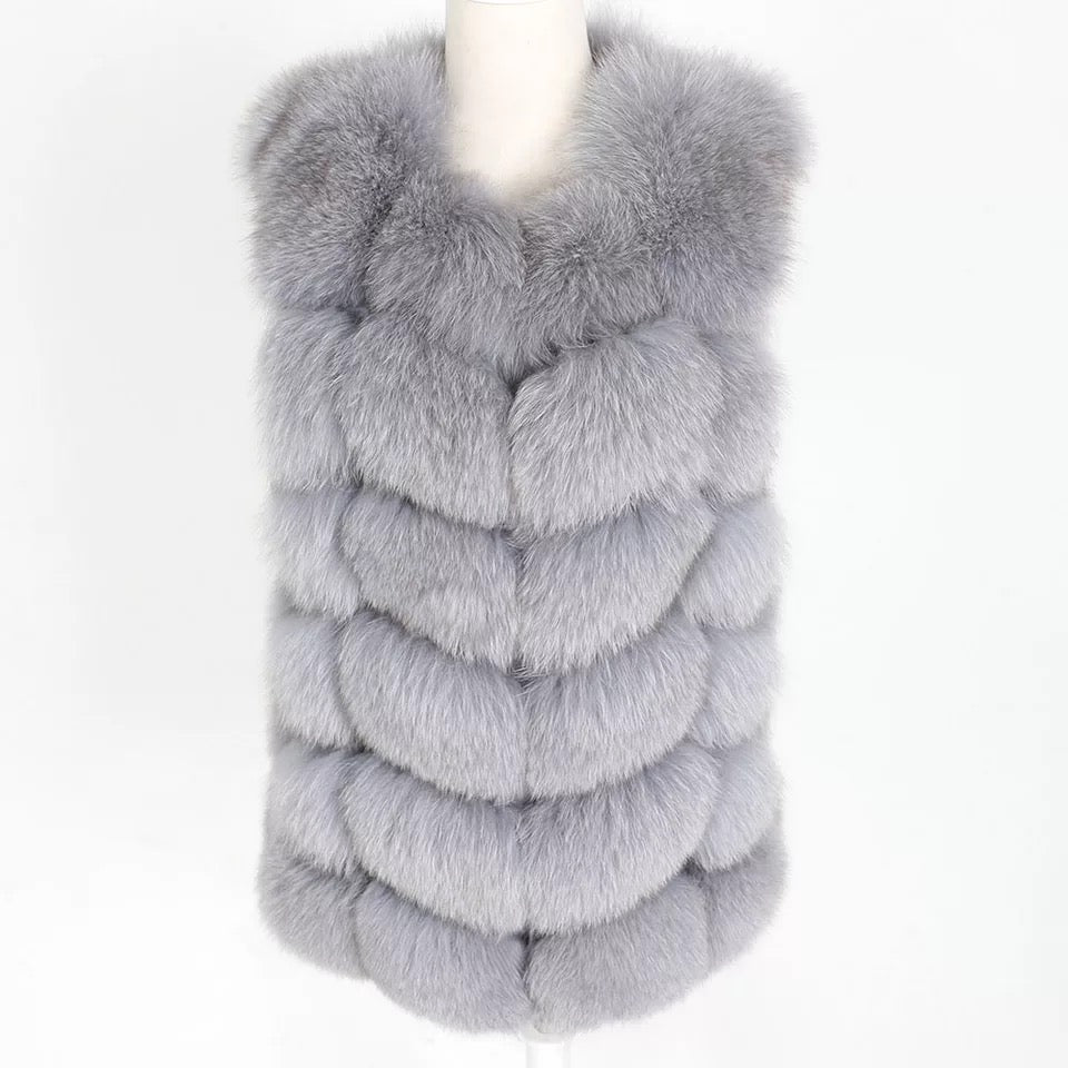 Fox Fur Square Gilet Grey
