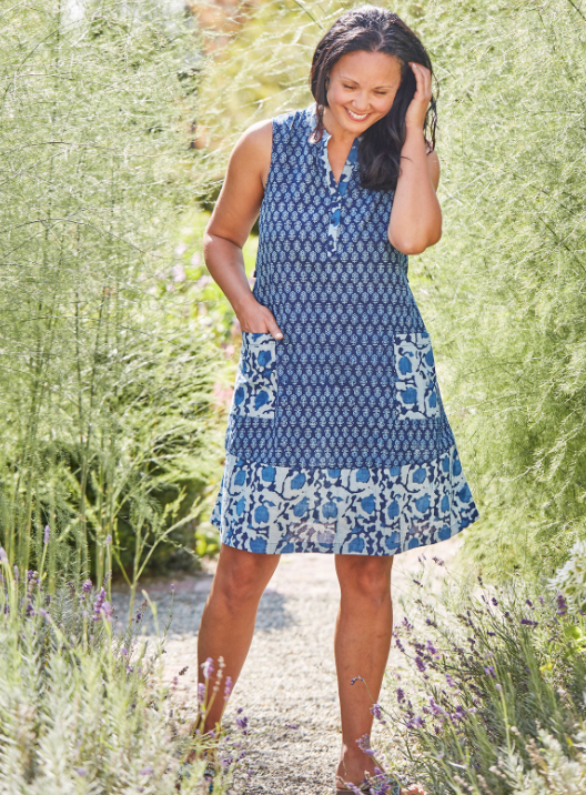 April Cornell Indigo Rose Shift Dress
