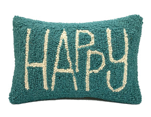 "Hooked Wool ""HAPPY"" Pillow"