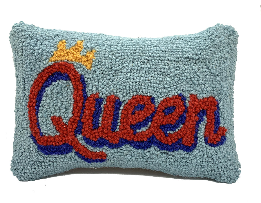 "Hooked Wool ""QUEEN"" Pillow"