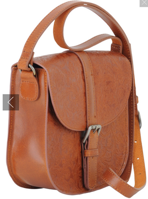 Embossed Saddle Bag - Tan
