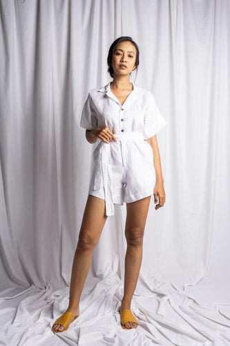 NUSA PLAYSUIT IN WHITE | PURE LINEN