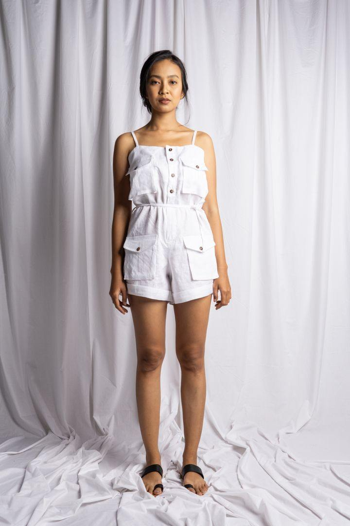 MEDEWI PLAYSUIT IN WHITE | PURE LINEN
