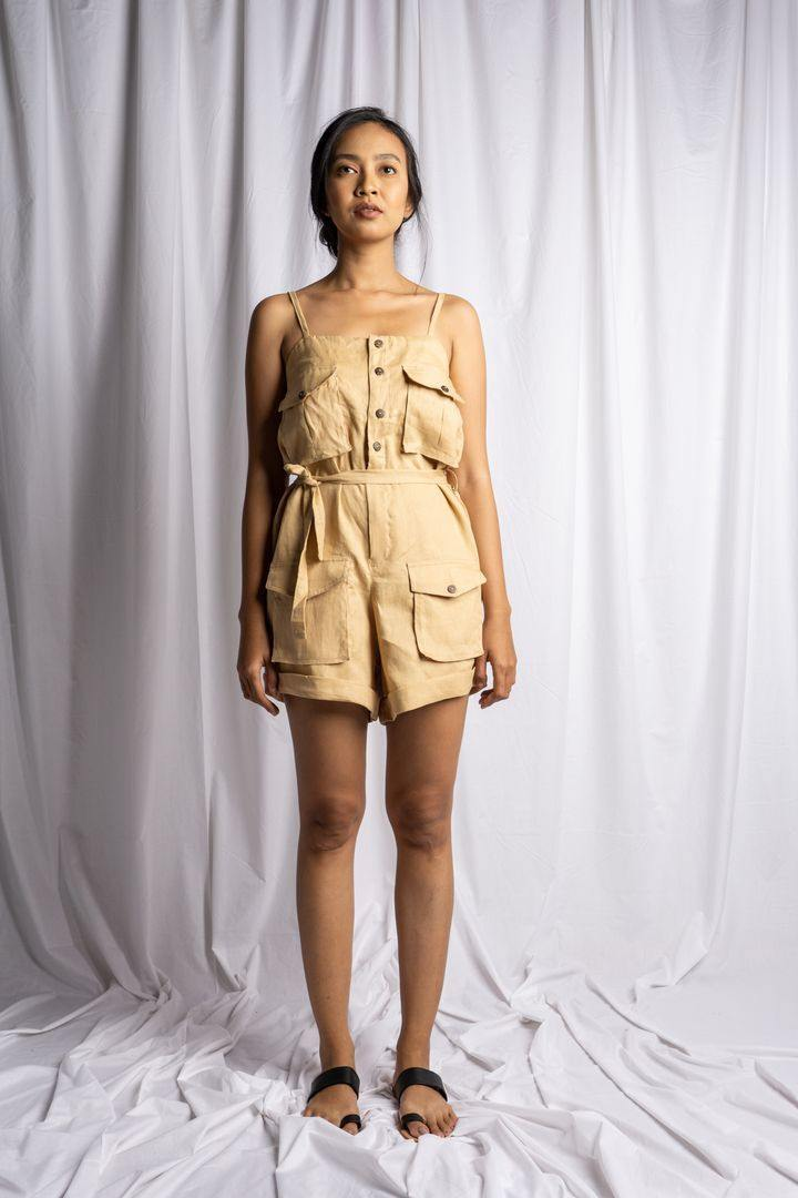 MEDEWI PLAYSUIT IN NUDE | PURE LINEN