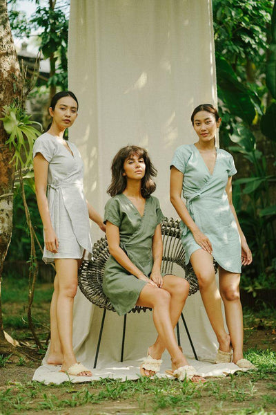 WRAP DRESS IN OLIVE - Nataoka bali