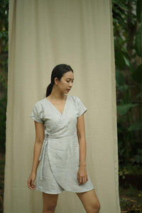 WRAP DRESS IN GREY | PURE LINEN