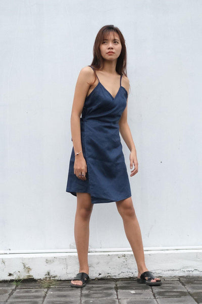 TANK WRAP DRESS IN NAVY - Nataoka bali