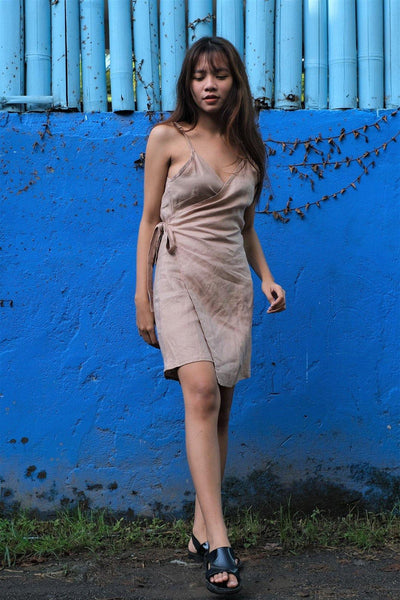 TANK WRAP DRESS IN LIGHT BROWN - Nataoka bali