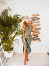 Load image into Gallery viewer, SALVIA DRESS IN OLIVE | PURE LINEN