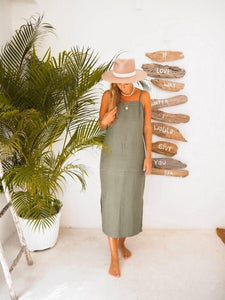SALVIA DRESS IN OLIVE | PURE LINEN