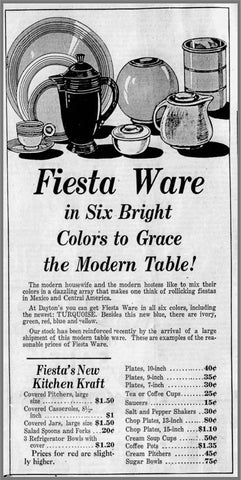 1930's newspaper ad for fiesta dishes, each sold separately