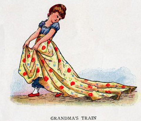 Drawing of a child playing dress up in a yellow floral skirt with a long train