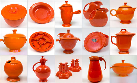 a montage of numerous pieces in original fiesta red