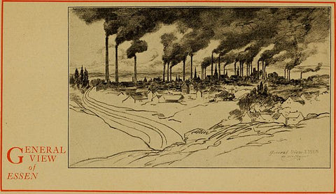 Old sepia drawing of multiple factories together with large smokestacks emitting lots of dark smoke