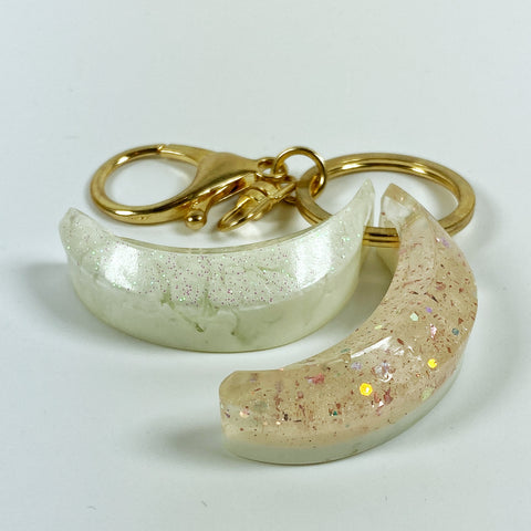 Blush and Cream Winter Twin Bananas Resin Charm Keyring side view