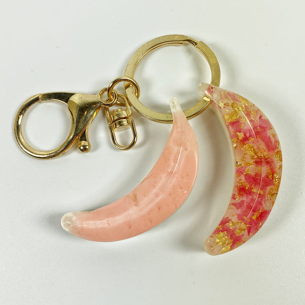 Peach and Strawberry Double Banana Coral and Pink Resin Charm top view
