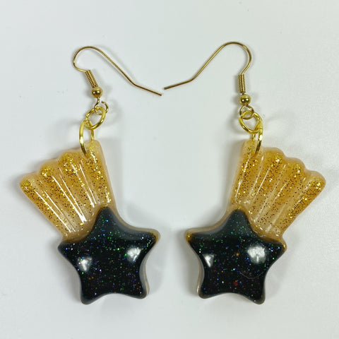 Deep Blue Shooting Star Resin Dangle Earrings with Golden Tail front view
