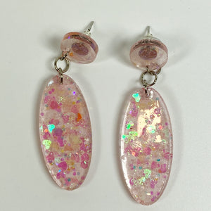 Blush Pink Glitter Resin Dangle Earrings front view