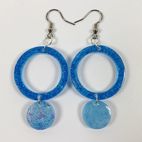 Shades of Blue Circle Resin Lightweight Handmade Dangle Earrings front view