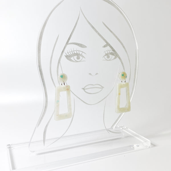 E144 Milky White Opalescent Square Hoop Dangle Resin Earrings on acrylic display stand