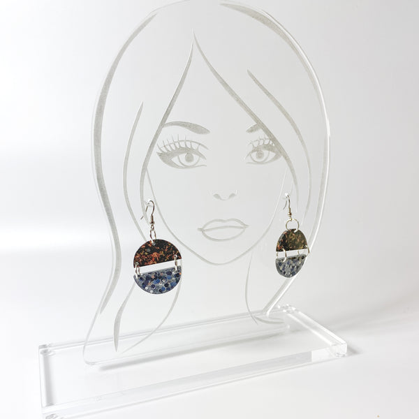 Black and Brown Double Dangle Resin Earrings with Silver and Gold on acrylic display head