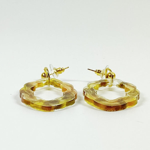 Amber and Brown Scallop Resin Hoop Dangle Earrings side view