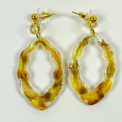 Amber and Brown Scallop Resin Hoop Dangle Earrings  front view