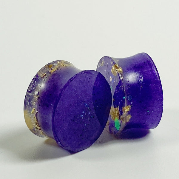 Flecks of Gold over Royal Purple Bicurve Gauges Plugs 12mm 16mm 18mm back view