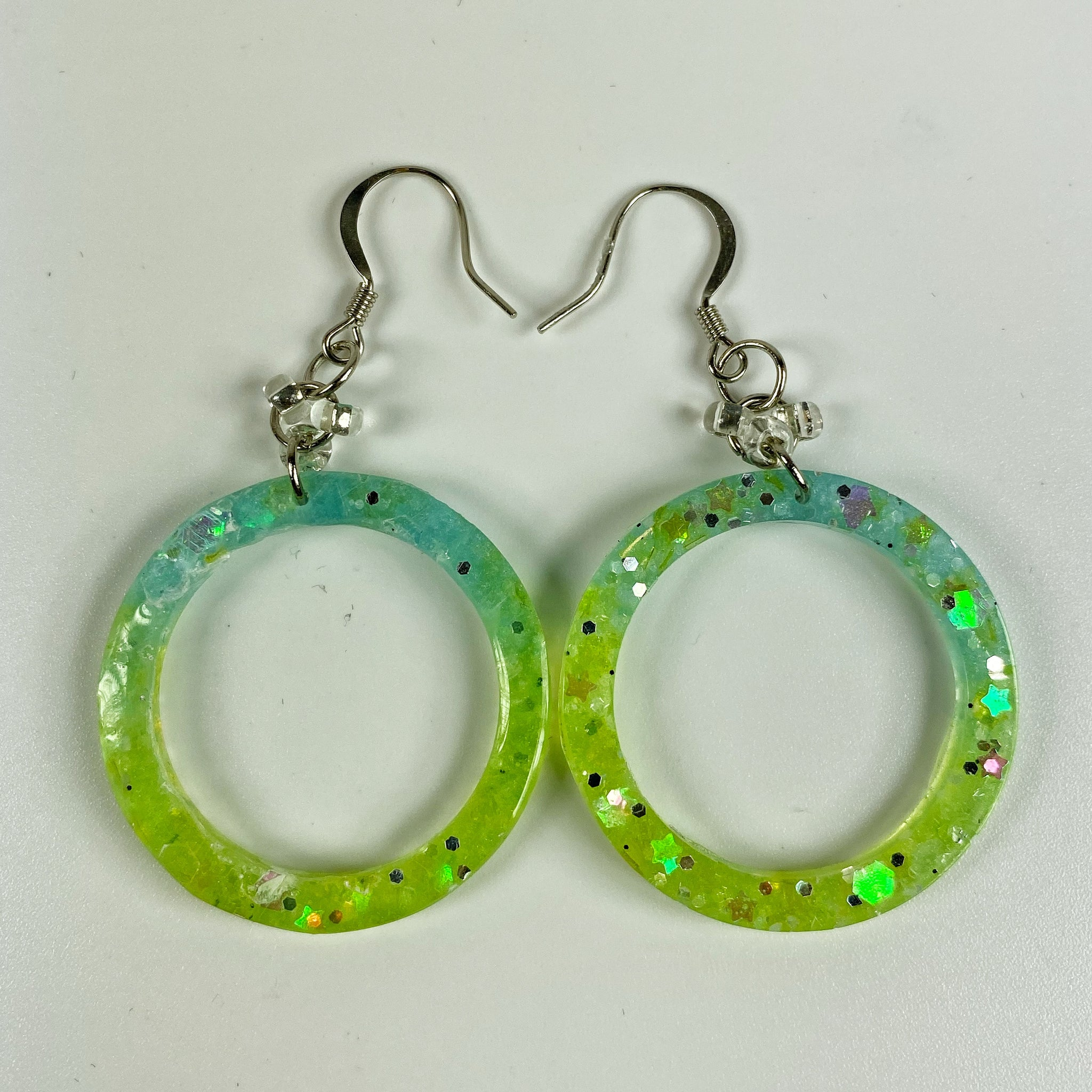 Blue green ombre hoops with sparkle