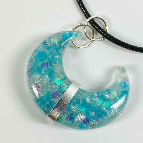 Blue Crescent Moon Banded Silver Resin Pendent Necklace front view