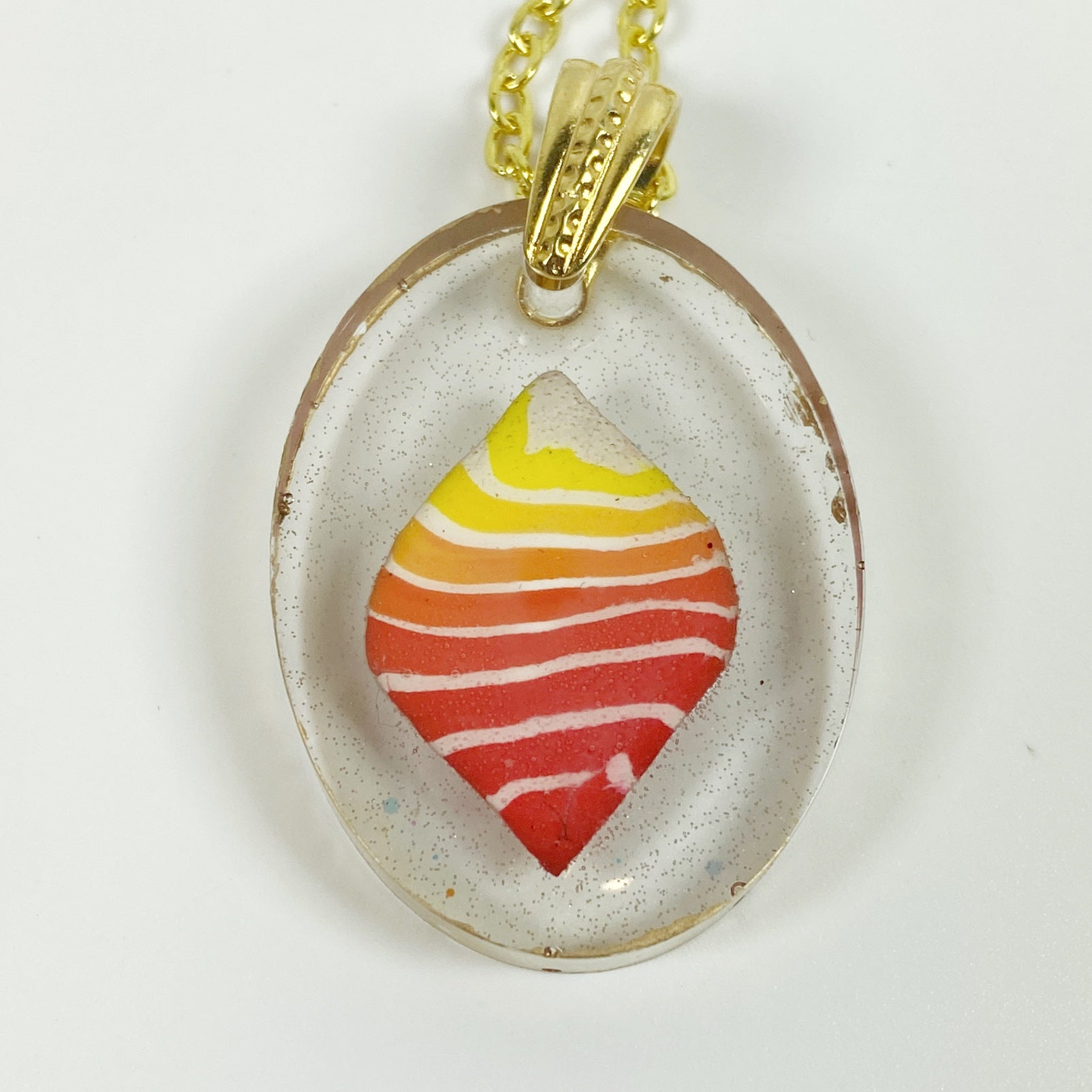 Stacked Bright Polymer Clay in Clear Resin Handmade Pendent Necklace front view