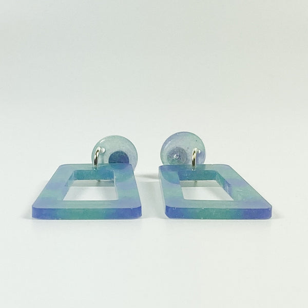 Blue and Purple Square Hoop Resin Dangle Earrings side view