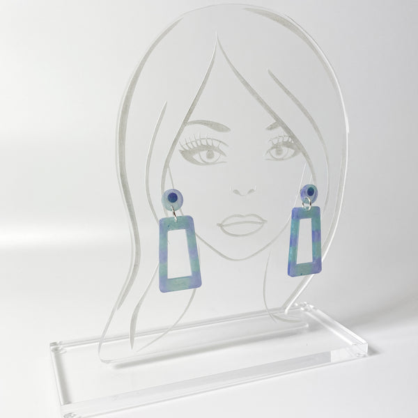 Blue and Purple Square Hoop Resin Dangle Earrings on clear acrylic model head