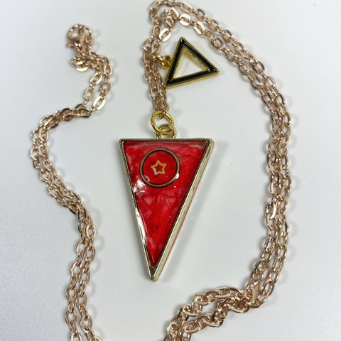 Scarlet Triangle with a Star Resin Necklace front view