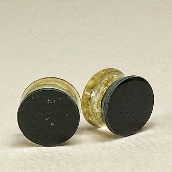 Gold Flake & Coal Black Resin Gauges Plugs 5/8 (16mm) side view