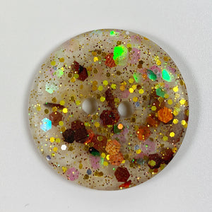 Fall Aster flat resin button, top view