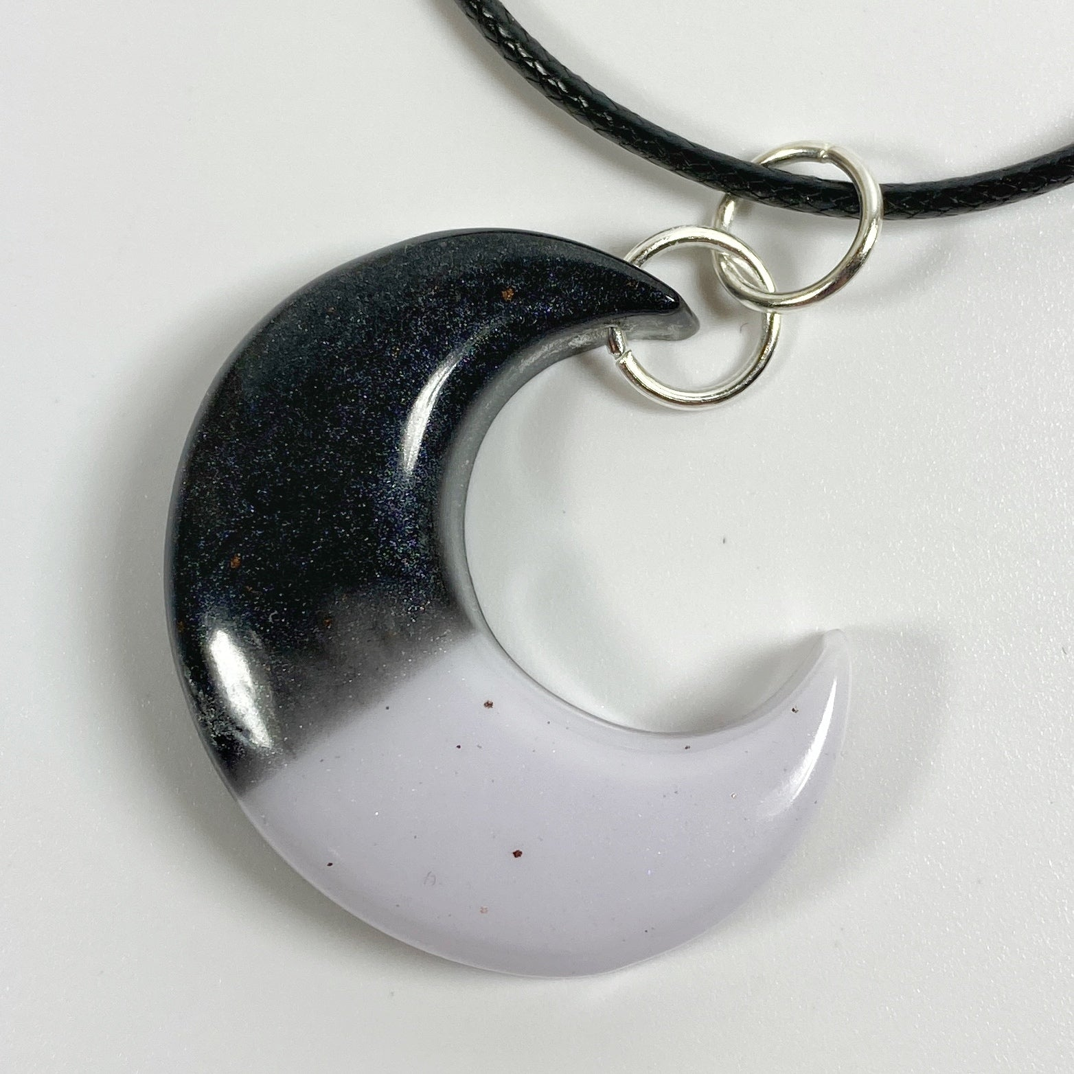 Crescent Moon Eclipse Resin Necklace front view