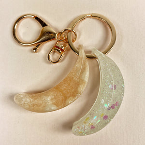 Twin banana charm, palest marbelized peach and sparkly ice