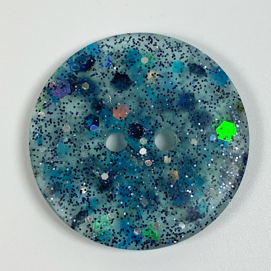 Piebald Midnight Flat Resin Button, top view