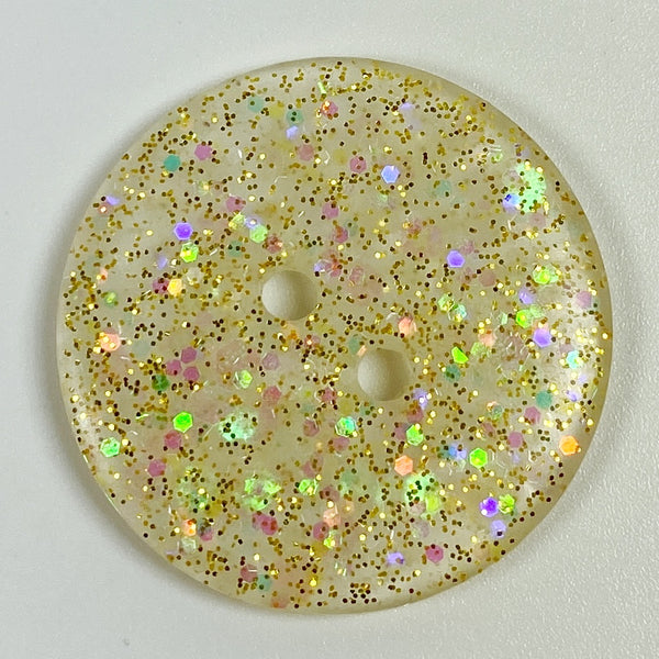 Icy Gold Flat Resin Button, Top View