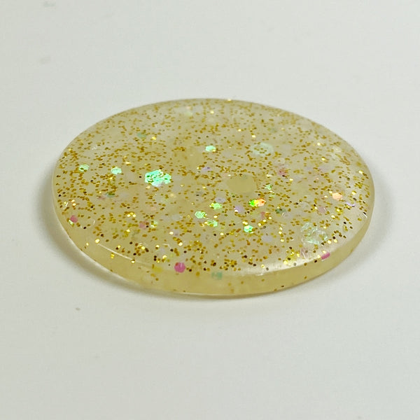 Icy Gold Flat Resin Button, Side View