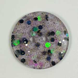 Raisin Purple Handmade Flat Resin Buttons, front view