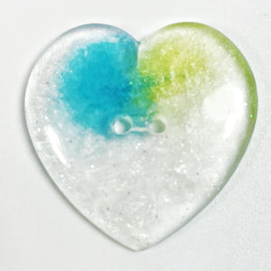 Aqua in Ice Sparkly Glitter Heart Resin Button