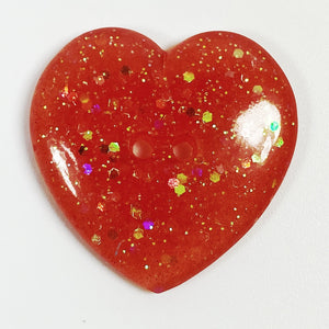 Bright Pink Heart Resin Button, front view